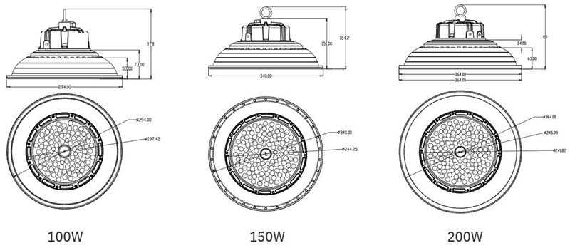 15000 lumen round ufo led high bay light