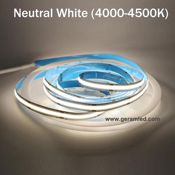4000k 4500k neutral white cob led strip light