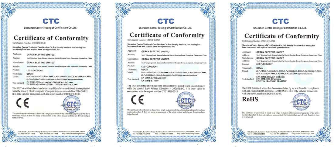 led flood light ce rohs certificates