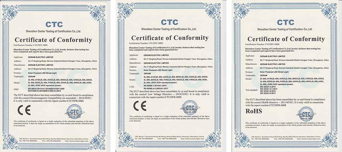 solar street light certificates